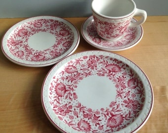 Vintage Syracuse China Econo Rim Service for One / Tea Cup and Saucer, Lunch Plate, Dessert Plate / Small Dining for One / Pink Flowers