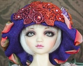 """Hand Dyed Lace Motif """"Mildred"""" Flapper Style Hat For Ball Jointed Dolls"""