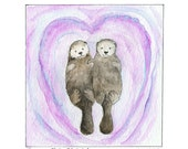 Sea Otters Holding Hands- PINK Ocean- 8 x 10 Art Print