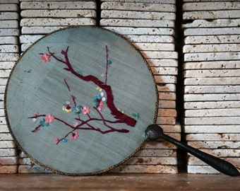 Vintage Embroidered Silk Screen Fan