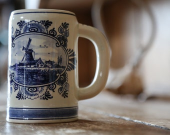 Vintage Blue Delft Hand Painted Mug / Made in Holland