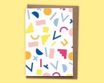 MEMPHIS PATTERN - Card w/ recycled envelope