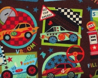 Flannel Fabric Just Shy 2 yards Race Cars Little Boy Quilt Brown Snuggle Eustheelf BT 87