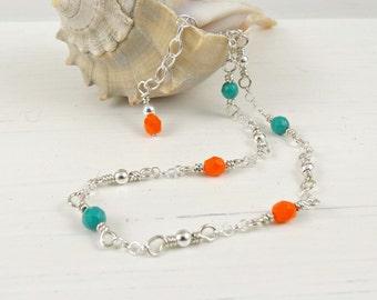 Aqua Orange Ankle Chain, Sterling Silver Anklet, Beaded Ankle Bracelet, Summer Anklet
