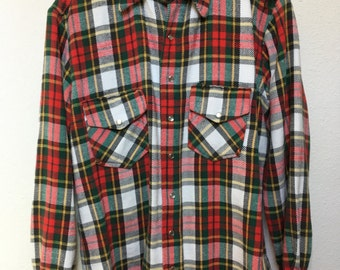 """Vintage plaid flannel western shirt, pearl snap buttons, red white green, distressed grunge, hand sewn 1950s style, chest size 46"""" men's M"""