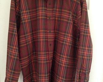 Vintage plaid long sleeve shirt, Arrow XL mens button down shirt, burgundy maroon plaid, plaid dress shirt, soft thin grunge 90s 1990s XXL
