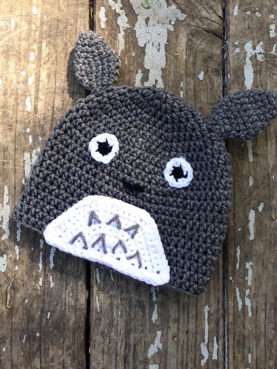 Crochet Totoro inspired beanie by OhMaiGoodKnits on Etsy