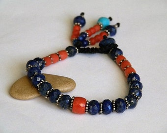 Lapis Lazuli gemstone bracelet - red Coral - Turquoise - Sterling silver - star beads - faceted - tassel - macrame closing - Tribal wear
