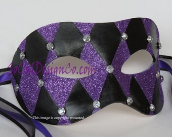 Black Leather, Masquerade Mask, For Men, Leather Mask, Halloween Mask, Leather Masks, Venetian Mask, Purple Leather, Mask, Halloween