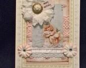 Birthday Card, Shabby Card, Greeting Card,Handmade Card, Embellished Card, OOAK
