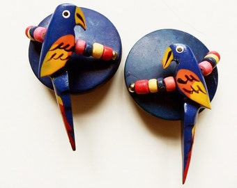 Hand Painted Wood Parrot Clip On Earrings, Vintage 80s