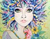 True Colors Printable Page Instant Download Womans Face Leslie Mehl Fantasy Art