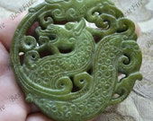 Green Carved dragon double Jade Pendant,Double Side Face Carved dragon jade Pendant Gemstone,Unique Carved Jade Pendant,jasper pendant