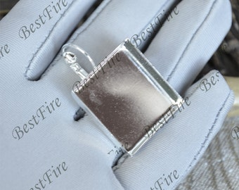 6 pcs Antique silver Lever Back Ear Wire Square Bezel Setting ,French Earwires Hook With Square  (Inside Diameter 25 mm Pad)