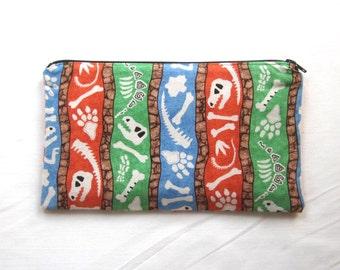 Buried Dinosaur Bones Fabric Zipper Pouch / Pencil Case / Make Up Bag / Gadget Sack