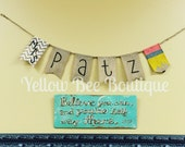 Burlap Teacher Name Banner with Chevron and Pencil - customizable