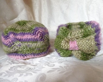 SALE!!! TWINS but DIFFERENT Sister Hats, Knit Pair in Matching Colours, Warm Headband and Toque