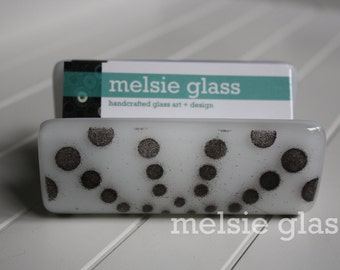 Black & White glass business card holder - black spiral design, polka dots, office gift, desk accessory