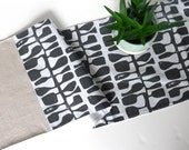 Table Runner -- Standard 90-inch -- Stamped Charcoal and Natural Linen -- Ready to Ship