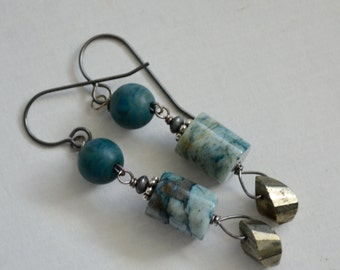 Blue Feldspath, Pyrite, Vintage Lucite and Oxidized Sterling Silver Earrings