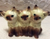 20% SALE Vintage Napco Trio of Siamese Cats Figurine Planter 1960s Porcelain made in Japan
