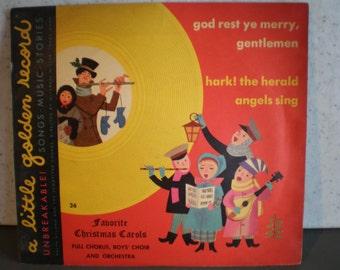 Vintage Mid Century Children's Record - A Little Golden Record - Favorite Christmas Carols