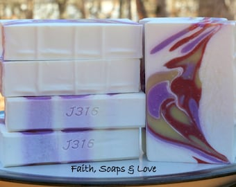 Cherry Blossom Handmade Cold Process Soap - Homemade Soap - Scripture - John 3:16 - Christian Soap Bible Study Ministry Tool