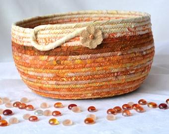 Fall Decor Basket, Beautiful Batik Fiber Bowl, Handmade Fabric Basket, Gift Basket, Decorative Napkin Holder, Bread Basket