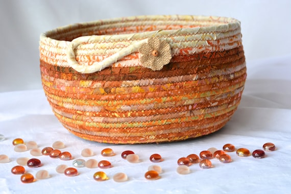 Fall Decor Basket, Beautiful Batik Fiber Bowl, Handmade Fabric Basket, Gift Basket, Decorative Napkin Holder, Bread Basket