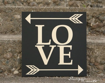 Custom LOVE Wood Sign - You Choose Colors, Custom Made - Arrow Love wood sign love sign, wedding sign, arrow wood sign