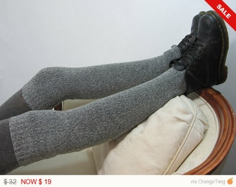 Thigh High Boot Socks Leg Warmer Over the Knee Knit Boot Sock Gray White Sweater Knit A1221