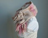 Cochineal & Black Walnuts Textural Delight - Handwoven Naturally Dyed Everyday Luxury Cowl Scarf