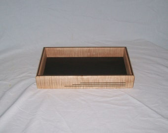 """Valet Art Deco Fiddle Back Maple 12""""x 7""""x2"""" Handcrafted or TV remote tray"""