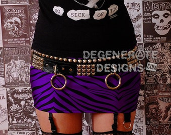 Purple Zebra PUNK Skirt Animal Print Street Punk Rock Clothing Rock n Roll Mini Skirt 80s Rocker Glam Rock Hair Metal Skirt XS - XXL