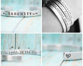 Skinny Stacking Bracelet Hand Stamped Jewelry Cuff Personalized Inspirational Inspiring Mantra CUSTOM 12g Aluminum Silver Metal UNIQUE GIFT
