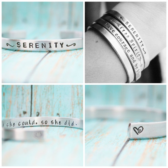 Skinny Stacking Bracelet Hand Stamped Jewelry Cuff Personalized Inspirational Inspiring CUSTOM 12g Aluminum Silver Metal UNIQUE GIFT