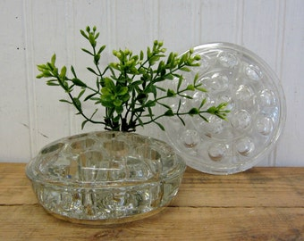 Two Vintage Large Glass Flower Frogs