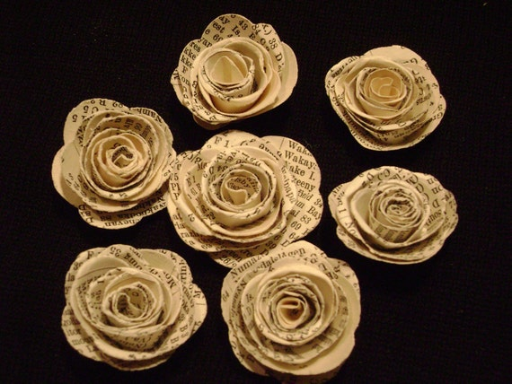 "Vintage atlas map book index page 1 "" spiral paper roses set of 12"