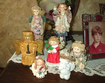 Angel Collection Figurines Christmas Old Fashioned Rustic Vintage Victorian Folk Art Boyds Bear Dreamsicle 7 Figures
