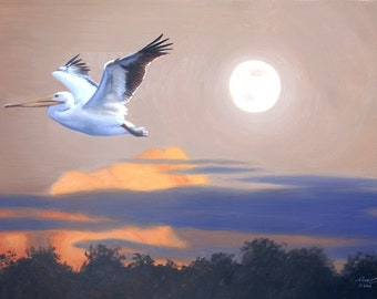 White Pelican wildlife bird 24x36 (61 x 91.4 cm) oils on canvas by RUSTY RUST / P-72