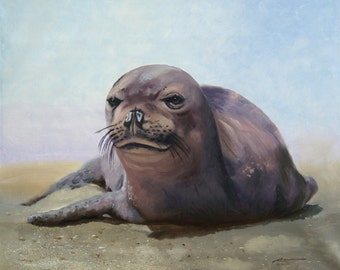Seal 11 x 17 print (image 10.5 x 12.75) personally signed by artist RUSTY RUST / S-59-P