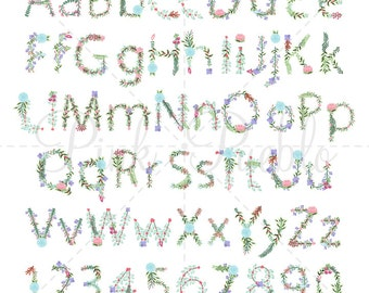 Floral Alphabet Clipart, Floral Alphabet Clip Art, Alphabet Letters - Commercial and Personal Use