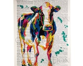 Colorful Cow on a Vintage Dictionary Page