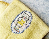 Vintage Bath Towel Dundee Yellow  With Embroidered  Sexy Lady Kitty Cat Crocheted Edges GREAT Condition