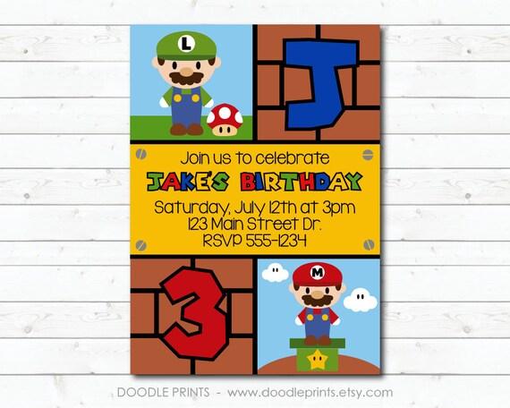 Super Mario Bros Invitation Printable Birthday Party Invitation