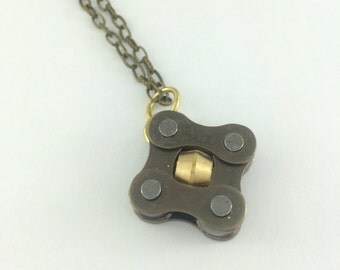 Bike chain brass square necklace, bicycle necklace, bicycle love squared, cycling gifts, brass cycling pendant