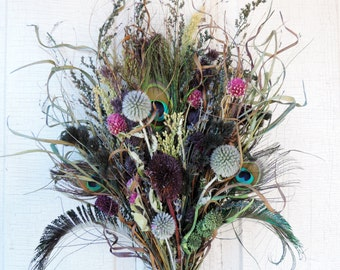 Dried Flower Bouquet Floral Arrangement Large Size Peacock Feathers Straw Flowers Sunflower Wild Grasses Globe Thistles Home Decor