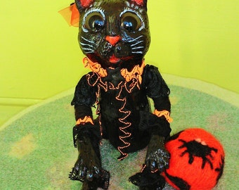 One of a kind handmade Folk Art Halloween Black Cat art doll with the Ball.