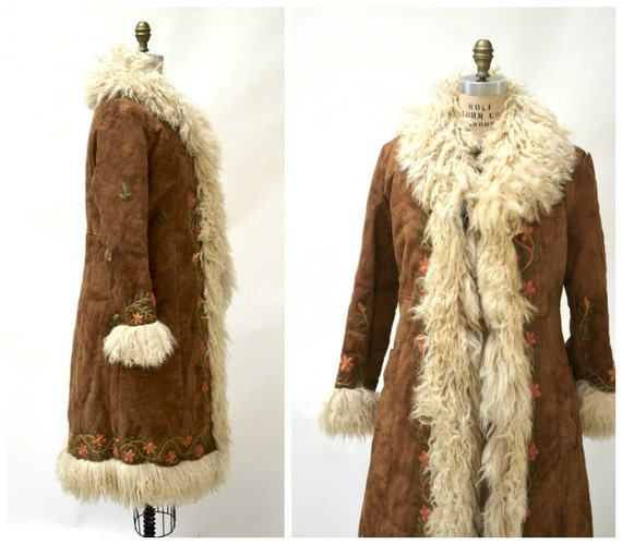 Vintage Embroidered Shearling Afghan Jacket Coat Small