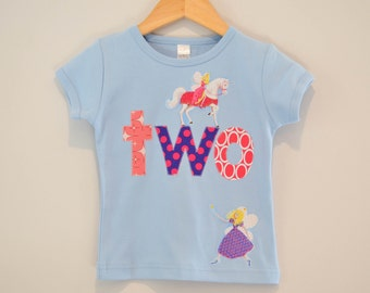 Ready to Ship, Fairy Birthday Shirt, Girls 2nd Birthday Shirt, Princess Unicorn Fairies, Short Sleeve, Applique Two Shirt, Blue Pink, Size 2